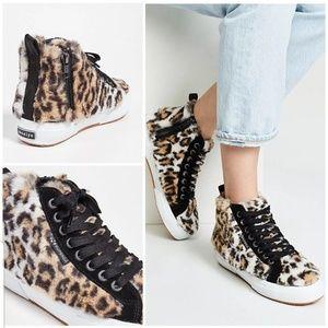 JOCELYN 2795 LEOPARD Faux Fur High Top Shoes 7